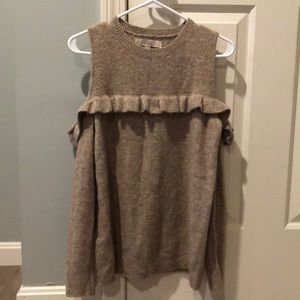 Tan cold shoulder sweater